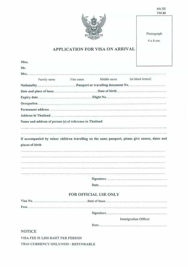 Thailand Visa On Arrival Form 2019