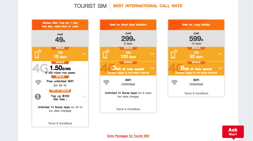 Truemov SIM for mobile phone while in Thailand